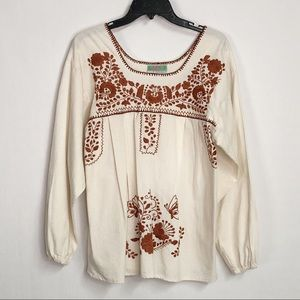 Nativa Hispanic Floral Embroidered Top M2